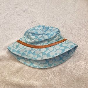 COACH baby blue logo bucket hat with leather trim